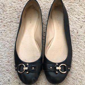 Coach Alice black leather flats size 10
